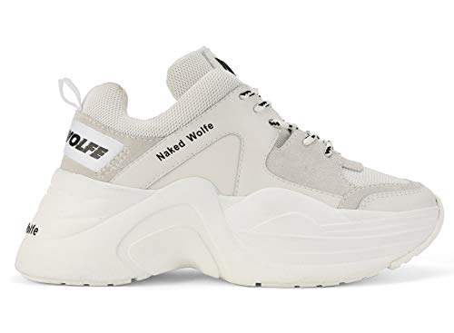 NAKED WOLFE Chaussures Plates Femme avec Plateforme Track White Combo Taille 38 Blanc