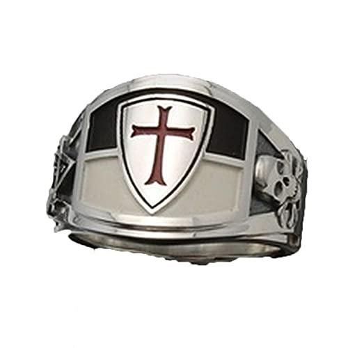Anillos de calavera de Cruz Roja Vintage para hombres joyería de moda Punk Retro masonería masónica esqueleto anillo de dedo Biker Club 9 AJZ2577