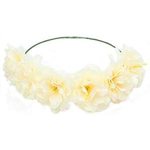 Haodou Flor de Seda Falsa Accesorios de Pelo Flores Artificiales Rose Diadema de Pelo Banda de Goma Playa Boda Nupcial…