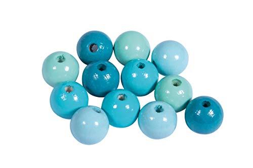 Rayher 12210404 Holz Perlen Mischung, FSC zertifiziert, poliert, 12 mm ø, Türkis-Töne, 32 Stück, Buchenholz, schweiß- und speichelecht, Schmuckperlen, Perlen für Baby-Schnullerketten