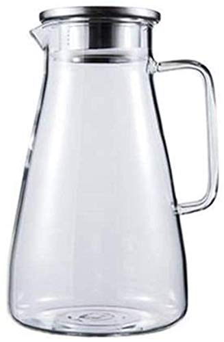 KFDQ Household Glass Kettle,Teapot Kettle Water Jug Glass Teapot Pitcher with Lid Iced and Handle Borosilicate Heat-Resistant Glass Jug Wine Coffee Milk and Juice Beverage Carafe with Spout,2400Ml,24