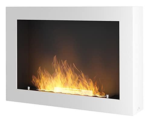 Camino a Bioetanolo da Parete 80x56x16,5 cm Murall 800 Bianco con Vetro