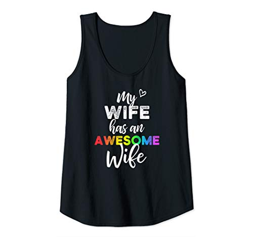 Womens My wife has an awesome wife - Gay Pride Lesbian Wedding Tank Top