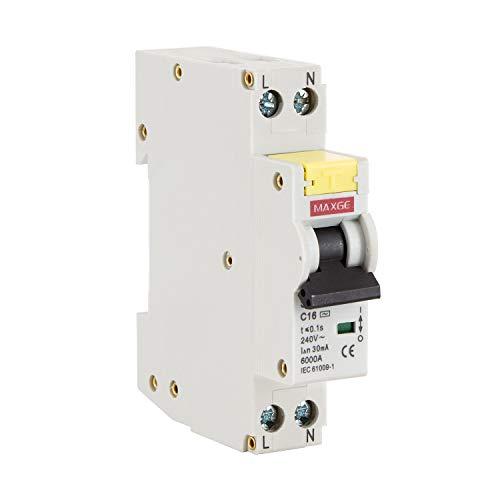LEDKIA LIGHTING Interruptor Combinado DPN (Automático + Diferencial) MAXGE 1P+N-6kA 16 A1 + N