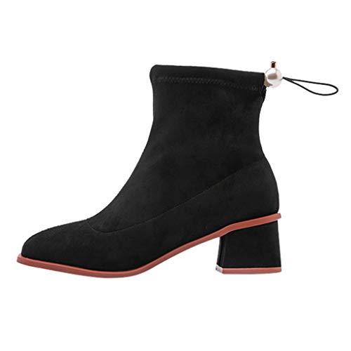 Botines de tobillo para mujer, punta redonda, sólidos, casuales, para exteriores, botas de plataforma y tobillo de tacón grueso, botas de tacón bajo