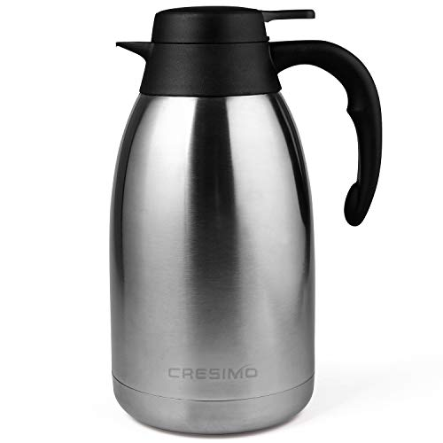 Cresimo 2 Liter Edelstahl Thermoskanne, Teekanne, Kaffeekanne, und Isolierkanne mit 12 Stunden Wärmespeicherung – doppelwandige Vakuum Tee und Kaffee Thermokanne – 2L Isolier Kanne