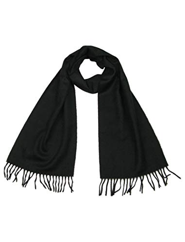 Cashmere Scarf Black - Mens and Womens Pure 100% Cashmere Scarves - Made in UK - Winter Scarfs for ladies