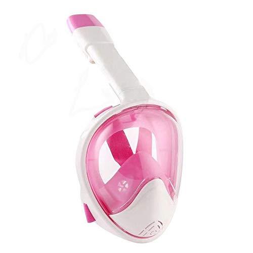 APKL Full Dry Snorkel Mask, 180 ° Panorama-Anti-Fog-Maske Faltbare Schnorchel- und Schwimmmaske,Pink,S/M