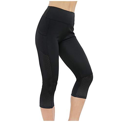 Pantalones de Fitness para Mujer con Bolsillos, Pantalones de Yoga recortados de...