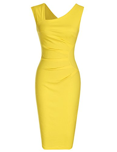 MUXXN Women's 1950s Sleeveless Slim Business Pencil Dress (L,Yellow)