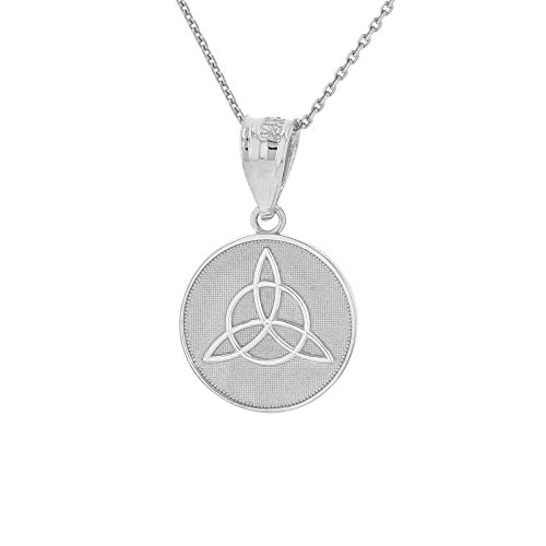 Dainty 10k White Gold Irish Infinity Circle Celtic Trinity Knot Disc Necklace, 18'