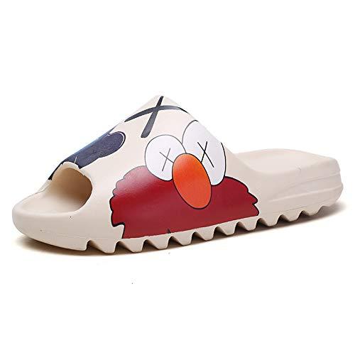FURPO Unisex Slide Sandal Summer Slippers Non-Slip Soft Platform Pool Cartoon Slides, Indoor & Outdoor House Slides Slippers, Lightweight EVA Slides for Men Women Teenagers 7 Women/6 Men Beige-W
