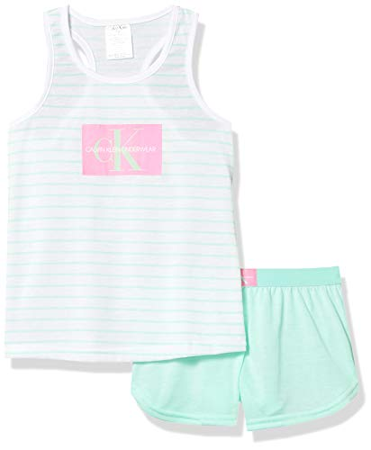 Calvin Klein Girls' 2 Piece Sleepwear T-Shirt and Shorts Pajama Set Pj, Whitemint Stripe, Medium 7/8