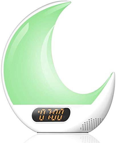 HAOHAO Despertar Reloj Despertador Ligero Toque de luz de la Aurora simulación de la Puesta del Sol con el Control de la Alarma, la electrónica de Radio FM Moonlight Night Relojes de la luz