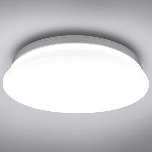 LE 22W Deckenlampe, 5000K LED Deckenleuchte, 1500LM Ø30cm Lampe Ideal für Badezimmer Balkon Flur Küche Wohnzimmer Schlafzimmer, Kaltweiß Licht Badezimmerlampe,Rund Leuchte Badleuchte,IP20 Badlampe
