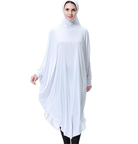 Dreamskull Damen Frauen Hijab Muslime Abaya Dubai Kleider Muslimische Islamische Kleidung Arab Arabisch Indien Türkisch Casual Abendkleid Kaftan A Linie Dress Mit Kopftuch Mehr Farben (M, Weiß)