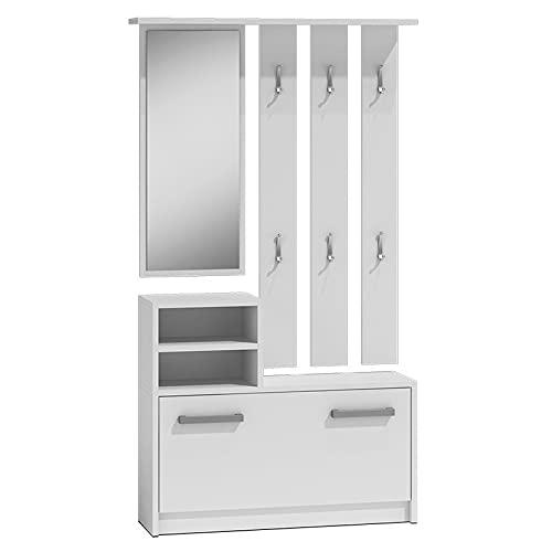 ADGO Set di mobili da corridoio, guardaroba, specchi e grucce e scarpiera, 6 grucce per vestiti e cappotti, appendiabiti compatto per il vostro ingresso (bianco)