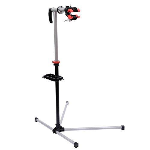 HOMCOM Reparacion Bicicletas Soporte de Pie con Bandeja Imantada Altura de 90 a 170 cm Herramientas Bici de Rotación de 360°