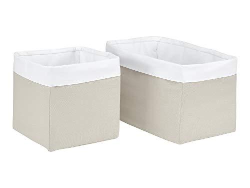 KraftKids Cestas de tela de lino natural marrón cesta de almacenamiento para habitación de los niños caja de almacenamiento de baño tamaño 20 x 20 x 20 cm