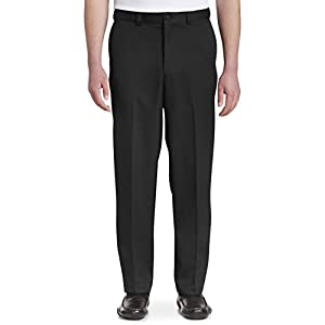 Oak Hill by DXL Big and Tall Waist-Relaxer Flat-Front Microfiber Pants- New Improved Fit