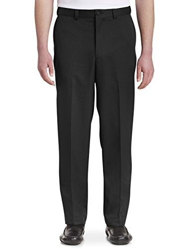 Oak Hill by DXL Big and Tall Waist-Relaxer Flat-Front Microfiber Pants- New Improved Fit, Black, 44 X 30