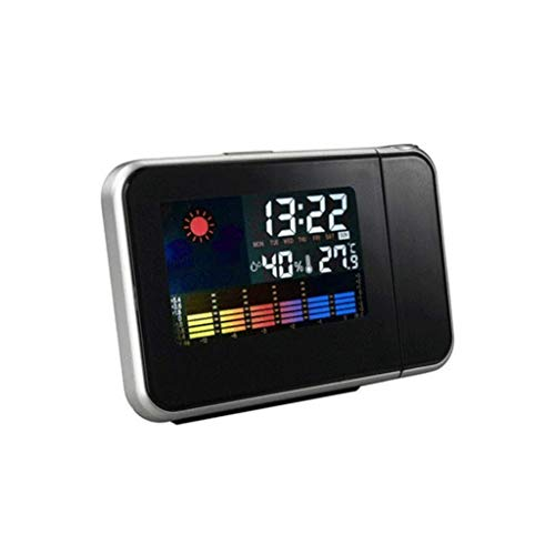 SGSG Wetterüberwachungsuhren LED Elektronische Uhr Wettervorhersage Projektionsuhr Schlummer Wecker Farbbildschirm Uhr Wettererkennungsuhr
