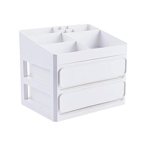SKFG® multifonctionnel maquillage de stockage en plastique de maquillage organisateur de stockage cosmétique tiroirs cosmétiques organisateur de bijoux stand de bureau,White