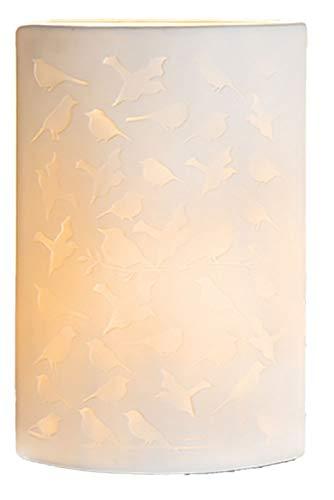 Gilde Porzellan-Lampe Vogel Oval Stehlampe Tischleuchte Nachttischlampe Nachttischleuchte Stimmungslampe Weiss 28cm