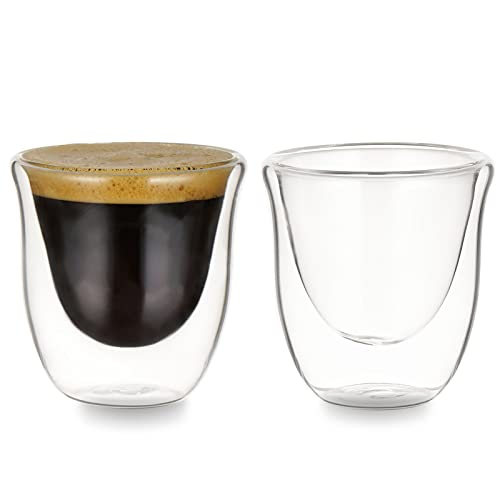 Double Walled Espresso Glasses, Set of 2 Espresso Cups Insulated Espresso Shot Glass Durable Easy to clean Demitasse Cups 2 Ounce/60ml Clear Coffee Glass Cappuccino Cups Tea Cups Latte Cups Glasses