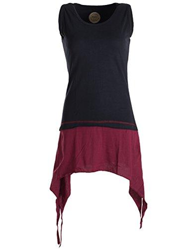 Vishes - Alternative Bekleidung - Ärmelloses, asymmetrisches Elfen Zipfelkleid aus Biobaumwolle im Lagenlook schwarz-dunkelrot 38