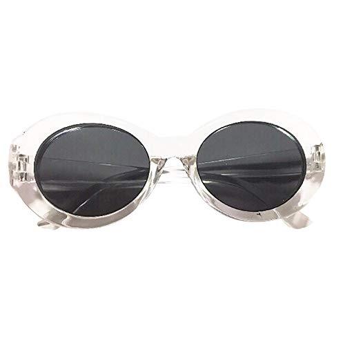 Gafas de Sol Espejo, Zolimx Retro Vintage Influencia Gafas de Sol Unisex Rapero Oval Sombras Grunge Gafas | Polarizadas | Deportivas | Grandes | Baratas | Redondas | Longitud: 15 * 5 cm