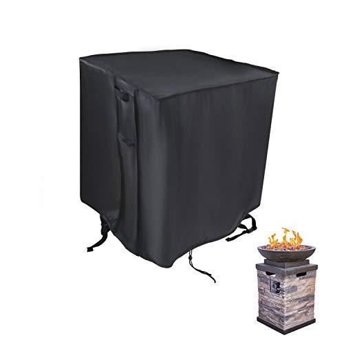 Saking Wasserfeste Abdeckung für Feuerstelle, 53,3 cm (21 Zoll) – mit Belüftungsöffnungen und Kordelzug (schwarz, 53,3 x 53,3 x 88,9 cm)