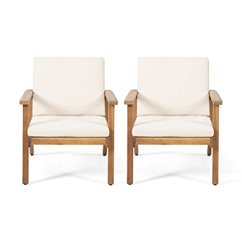 Christopher Knight Home 312147 Carlos Outdoor Acacia Wood Club Chairs with Cushions (Set of 2), Brown Patina Finish, Cream