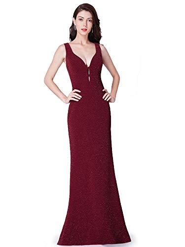 Ever-Pretty Frauen V-Ausschnitt Fishtail Long Burgund Abendkleid mit Glitzer Borgoña A 40