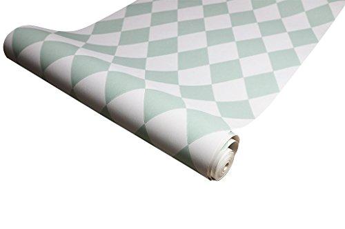 Minttü vintage retro behang - Multifunctioneel, Afwijkend product | Vintage behang voor een origineel effect - Witgroen (L53 x H1005 x P0 cm)