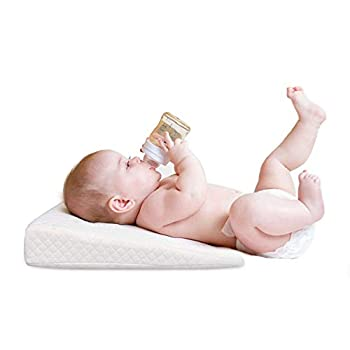 Hidetex Baby Crib Wedge Pillow for Newborn & Toddler - Bassinet Wedge Pillow with Organic Cotton for Preventing Acid Reflux During Infant Nursing & Sleeping with Washable Cover   White