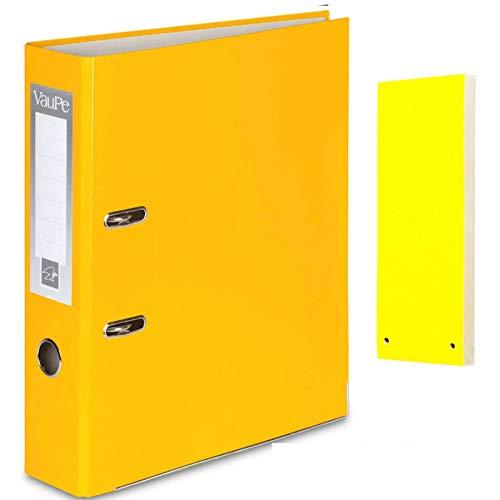 Carpeta archivadora de anillas de palanca tamaño A4 y 5 separadores de objetos amarillos