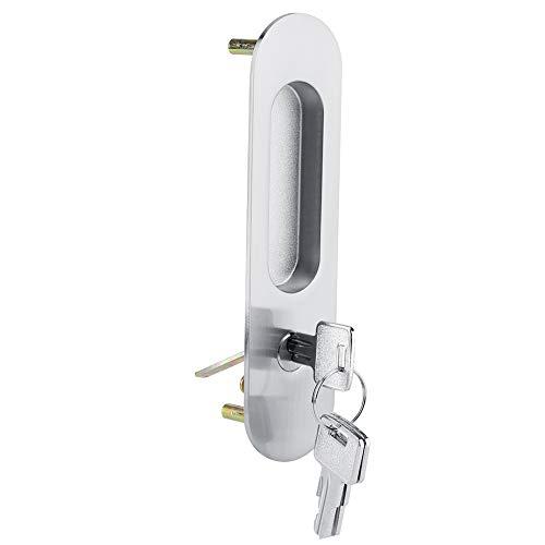 Serratura per porta scorrevole con chiavi in lega di alluminio Serratura di sicurezza per mobili in legno(Silver)