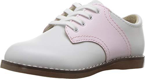 FOOTMATES Cheer Laceup Saddle White/Rose - 8413/8 Toddler M/W