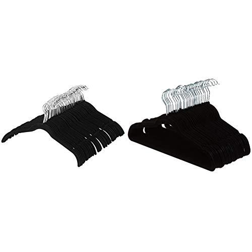 AmazonBasics Kleiderbügel für Hemd / Kleid, mit Samt überzogen, 100er-Pack, Schwarz & Kleiderbügel für Anzug / Kostüm, mit Samt überzogen, 30er-Pack, Schwarz