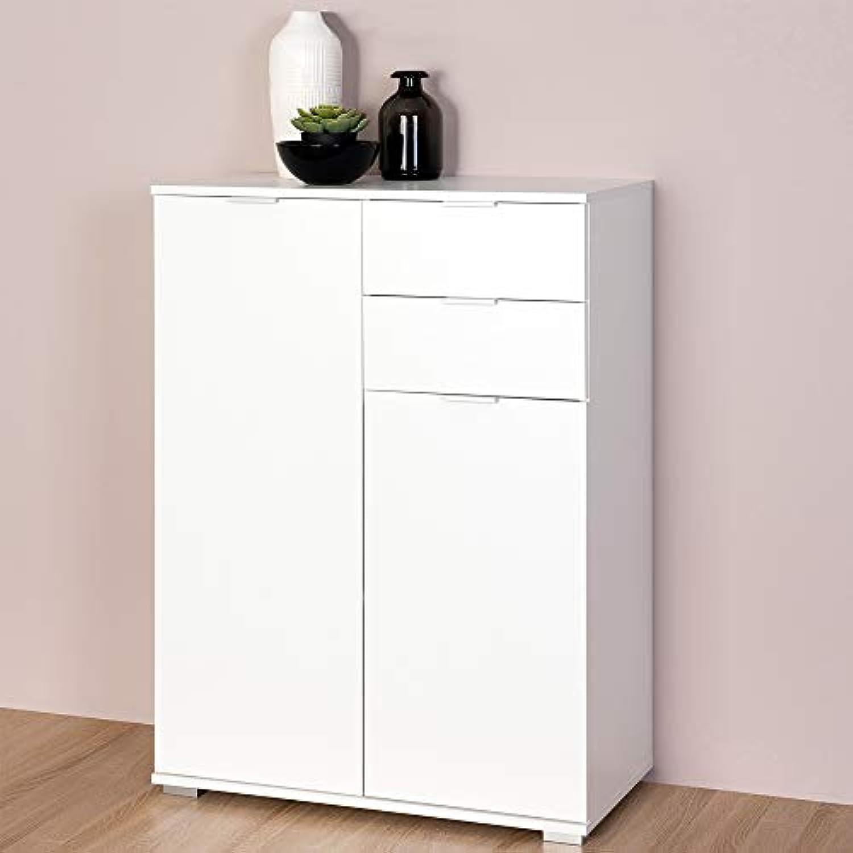 Deuba Kommode Highboard Alba mit 2 Schubladen & 2 Türen 71 x 101 x 35cm Sideboard Anrichte Beistellschrank Holz, Wei