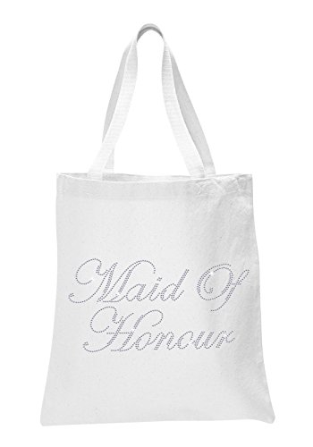 Varsany White Maid Of Honour Luxury Crystal Bride Tote bag wedding party gift bag Cotton by CrystalsRus