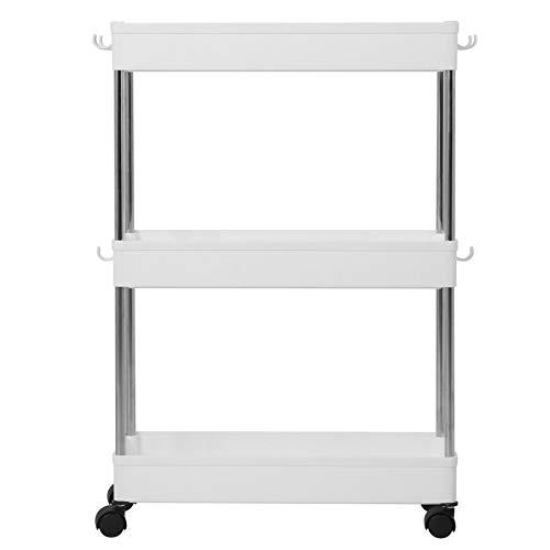 Carrello portavivande, carrello portaoggetti Design con gancio flessibile per cucine per lavanderie per bagni per garage(Ripiano in acciaio plastica-stretto 3 strati)