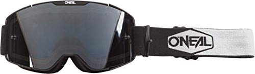 O'NEAL | Fahrrad- & Motocross-Brille | MX MTB DH FR Downhill Freeride | Verstellbares Band, optimaler Komfort, perfekte Belüftung | B-20 Goggle | Unisex | Schwarz Weiß Grau verspiegelt | One Size