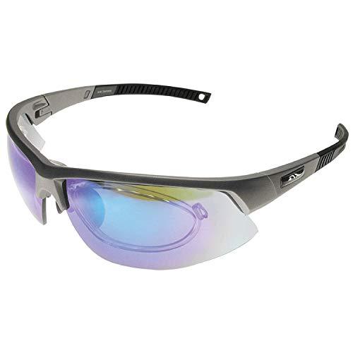 BIGWAVE Pro-Active 905 Grau – Superentspiegelte Premium UV 400 Sportbrille mit 4 Wechselgläsern–Radsportbrille mit schmutzabweisender Clean-Coat Beschichtung mit Sehstärke für Damen und Herren