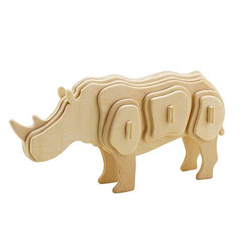 Georgie Porgy 3D Holz Puzzle Rhinoceros Modell Rhino Woodcraft Baukasten Kinder Spielzeug (JP244 Rhinoceros 24pcs)