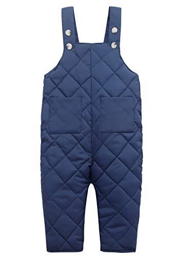Happy Cherry Leichte Daunenhose Overall Baby Dicke Warm Schneehose Kinder Winterhose Winddicht Sporthose Outdoorhose Trägerhose Blau - Größe 90