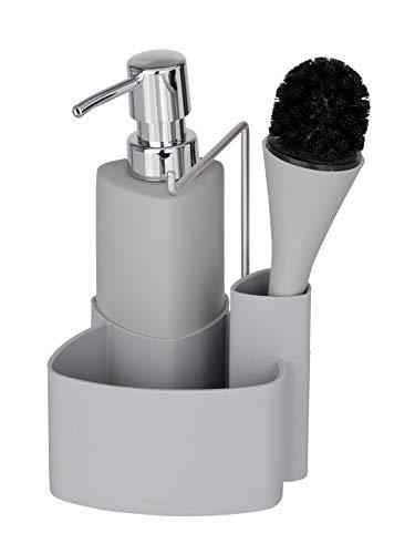 WENKO Conjunto para el fregadero Empire gris - dosificador detergente para la vajilla Capacidad: 0.25 l, Cerámica Soft-Touch, 11 x 19 x 12.5 cm, Gris