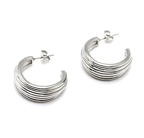 BO2065 – Pendientes de mini aros anchos con relieve a rayas de acero plateado
