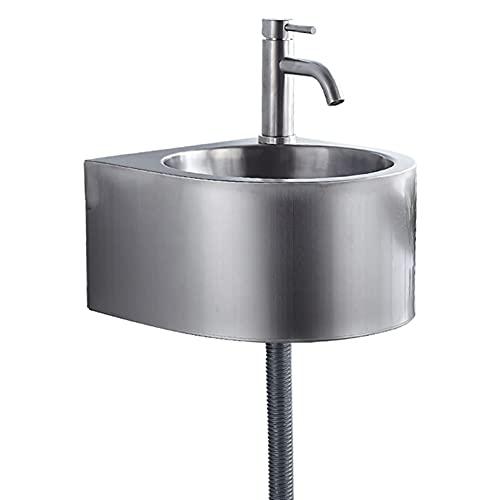 Lavamanos de montaje en pared, lavabo de baño con grifo, lavabo de guardarropa, combinación de desagüe de fregadero de una sola taza, fregadero de acero inoxidable comercial para el hogar